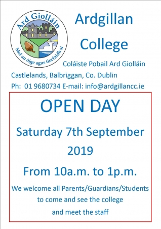 Open Day - Saturday 7th September (10-1pm)